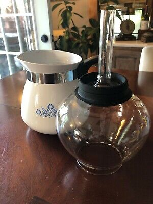 Vintage Corning Ware Drip-O-Lator Blue Cornflower 2qt 8Cup Coffee Tea Pot No Lid