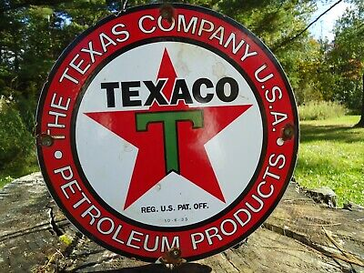 Old 1933 Texaco The Texas Company U.s.a. Porcelain Gas Oil Sign! Pump Plate