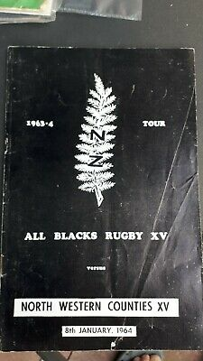 NEW ZEALAND ALL BLACKS 1964 v NORTH-WESTERN COUNTIES RUGBY PROGRAMME MANCHESTER
