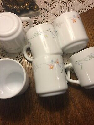 Arcopal France ODESSA  Floral White Milk Glass Set Of 6 Coffee Cups Mugs