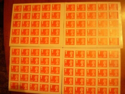100 x Unfranked, Easy Peel and Stick 1st Class RED Large Letter Stamps £106 F.V.