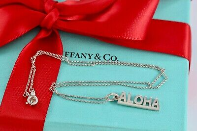 "Tiffany & Co. Sterling Silver ALOHA Bar Pendant 16"" Necklace w/ Pouch"