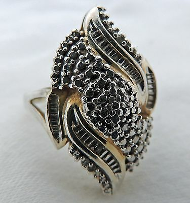Diamond Vermeil Washed STERLING SILVER 0.925 Hearts underneath RING size 7.25