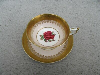 Vintage Paragon Pink and Gold Fancy Gold Trim RED Rose Center Tea Cup Saucer