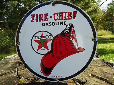 1951 Texaco Fire Chief Gasoline Porcelain Gas Oil Sign! Pump Plate Gas Station