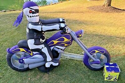 Gemmy Halloween Skeleton Chopper Motorcycle Inflatable 8 FEET LONG ! LIGHTED !