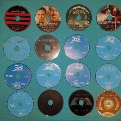 Lot of 65 mixed 3D Blu Rays, and DVDs.  Marvel, Disney and DC - DISCS ONLY.