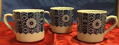 Vintage BLUE IMARI Lipper and Mann Coffee Mugs Cups Set of 3 Cup Lot