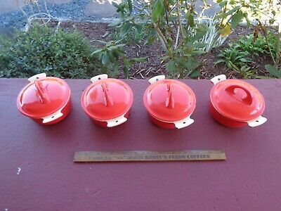 4 GRISWOLD Cast Iron RED & CREAM Small No 0 Dutch Ovens with LIDS