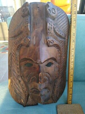 Hand Carved Native American Antique Mask Tribal Wooden Indian Chief Old