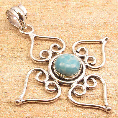 "High End Simulated LARIMAR Gemstone Fashion Pendant 2"" ! Silver Plated Jewelry"