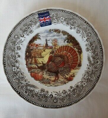 "NEW Royal Wessex by Churchill Turkey Thanksgiving Soup Cereal Bowls 6"" Set of 6"