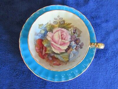 Aynsley England Signed JA Bailey Cabbage Rose & Poppy Turquoise Cup Saucer