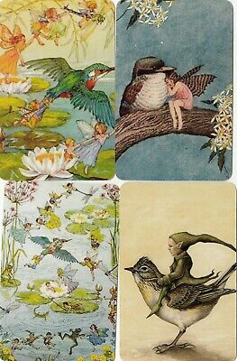 4 Swap Playing Cards Fairy Fairies Children Birds Blank Backs Modern #2