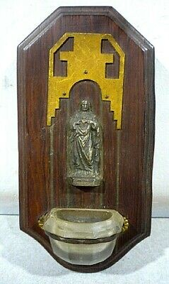 "Antique French HOLY WATER FONT with figure of Jesus. Hard wood. 5.5"" x 2.75"""