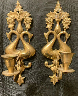 Vtg Brass Mating Courting Swans Sconces Candle Holders Art Deco Grapes Goose