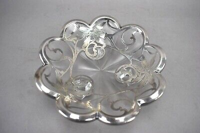 Vtg Sterling Silver Overlay Trim Glass Footed Candy Dish Bowl 7 1/2""
