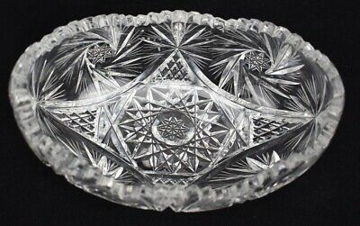 American Brilliant Cut Glass Elongated Oval Curved Bowl Dish