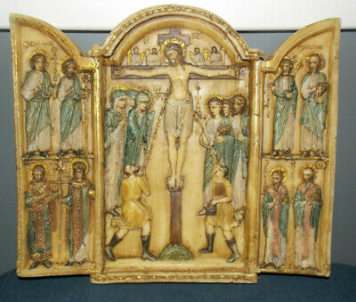 """Rare Gorgeous Antique/Vintage Wax Triptych""""Crucifixion Of Christ""""Wall Hanging!"""