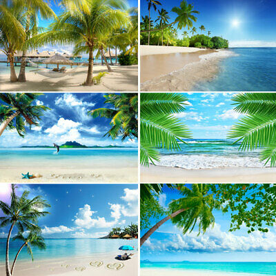 Vinyl Sea Beach Sand Backdrops Photography Blue Sky Palm Trees Studio Background