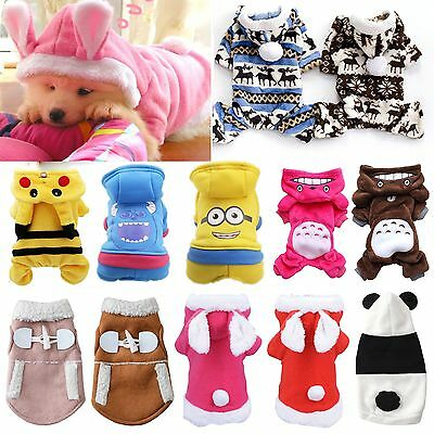 Pet Dog Jumpsuit Warm Winter Puppy Clothes Hooded Coat Sweater Hoodie Apparel