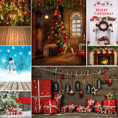 Christmas Day Photo Backdrops Snow Gift Wood Wall Background 3x5/5x7/6x9/10x10ft