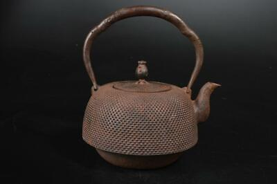 U7159: Japanese Old Iron Arare pattern TEA KETTLE Teapot Tetsubin, Iwachu made
