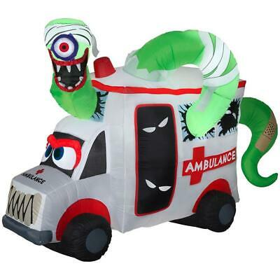8 Ft ANIMATED MONSTER AMBULANCE Halloween Airblown Yard Inflatable EYE SPINS