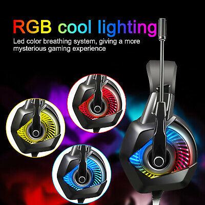Gaming Headset Wired Headphone Mic RGB LED for Xbox One PS4 PC Tablet Earphone