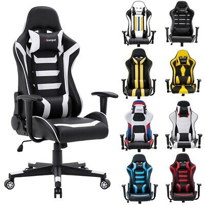 Executive Racing Gaming Computer Office Chair Adjustable Swivel Leather Recliner