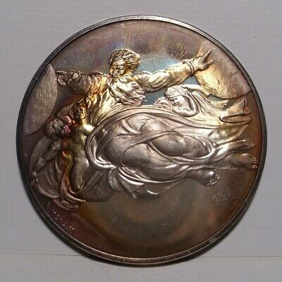"""1971 """"Creation of Sun and Moon"""" , Sterling Silver Franklin Mint Medal , Gem BU"""