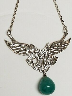 Vintage 925 Sterling Silver Art Nouveau Style Intertwined SWAN Necklace Green