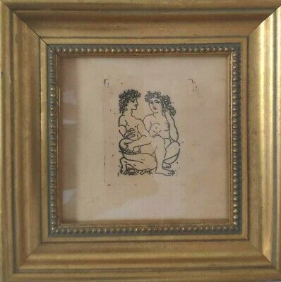 rare Signed lithograph print drawing Original etching Pablo Picasso MIRO DALI