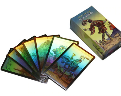 Tarot deck Holographic cards fate English Spanish French German Rider Waite pic
