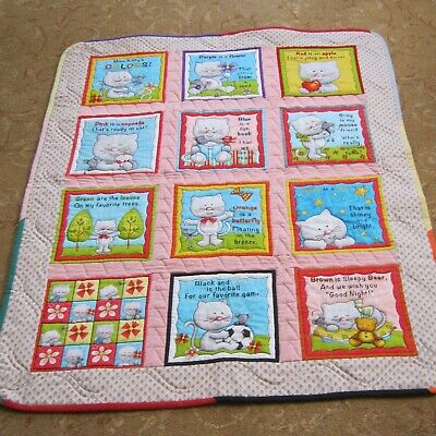 Nursery, baby, small childrens hand made quilt, playmat Miss Kitty's Colours