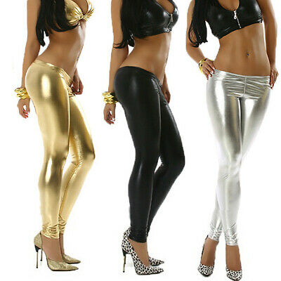 Sexy Women Faux Leather Solid Color Low Waist Shinning Stretch Leggings Strict