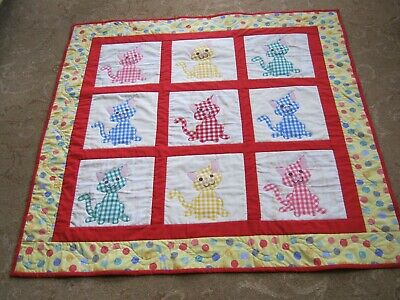 Nursery, baby, small childrens hand made quilt, playmat Cats,Kittens