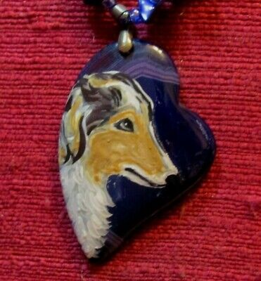 Russian Wolfhound Mother Of Pearl Heart Pendant Necklace PP113 Borzoi Dog