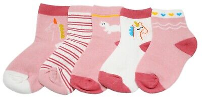 Baby Kid Girl Pink Striped Animal Unicorn Ankle Socks Age 1/2/3/4/5/6/7/8 Gift