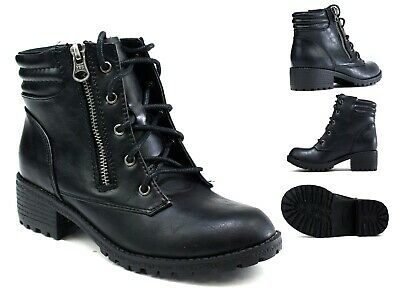 Girls New Winter Warm Ankle Lace Up Grip  Zipper Platform Heel Lightweight Boot