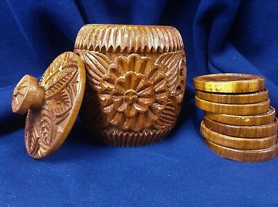 Hand Carved Wooden Box And Coasters