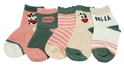 5 Pairs Kid Girl Pink Green Striped Animal Cow Cotton Ankle Socks Age 1-12 Gift