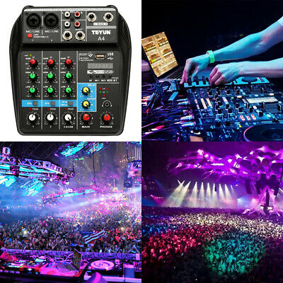 4-Channel Professional Line Live Mixing Studio Audio Sound Mixer Console A2B7