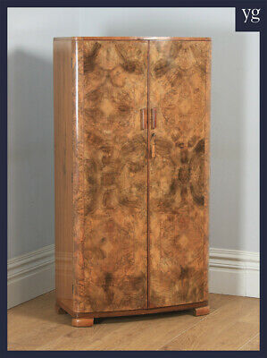 Small Antique English Art Deco Burr Walnut Two Door Armoire Wardrobe c1930