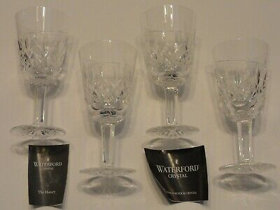 Waterford Crystal Lismore Water Goblet Stem Glasses, Set of 4, Unused, Signed