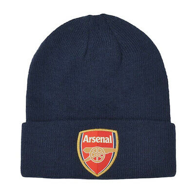 Arsenal FC Official Product CUFF Beanie Hat NAVY Club Crest Embriodery Season
