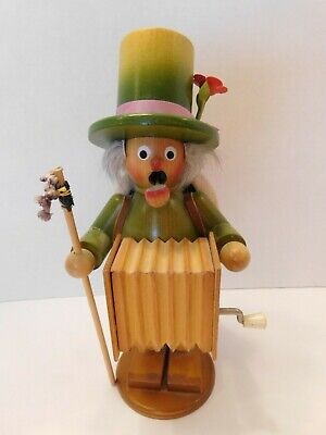 "Vintage German  Wooden Smoker 9.25"" ""The Organ Grinder"
