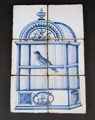 Lovely Old Dutch Delft Blue and White Tile Picture, Birdcage
