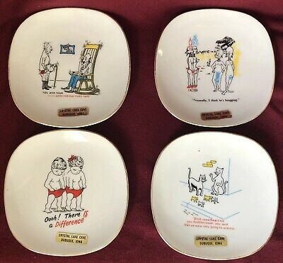 4 Vintage Novelty Risque Joke Plate Dish Japan Dubuque Iowa Crystal Lake Cave