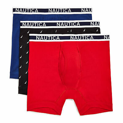 Nautica Mens Cotton Stretch Boxer Briefs, 3-Pack
